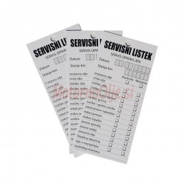 Servisni listek - kartonček 100kos